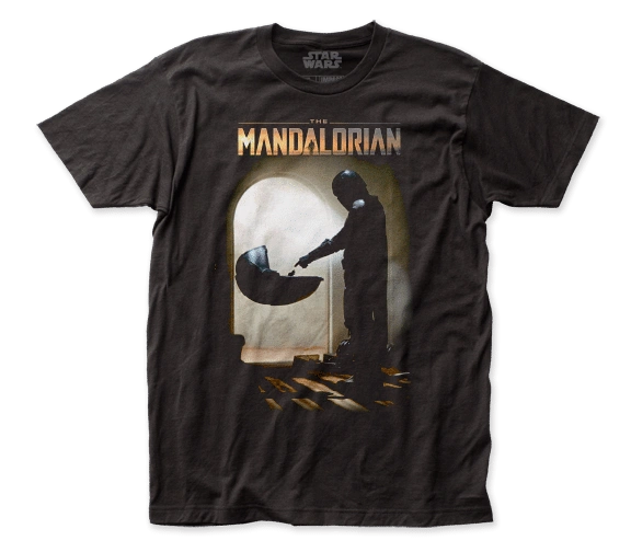 Star Wars The Mandalorian Mando Meets the Child Black Short Sleeve Adult T-shirt