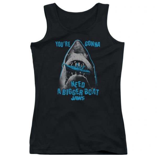Jaws Boat in Mouth Black Junior Tank Top T-shirt