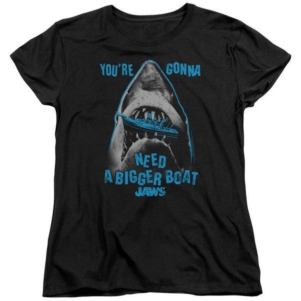 Jaws Boat in Mouth Black Short Sleeve Women's T-shirt