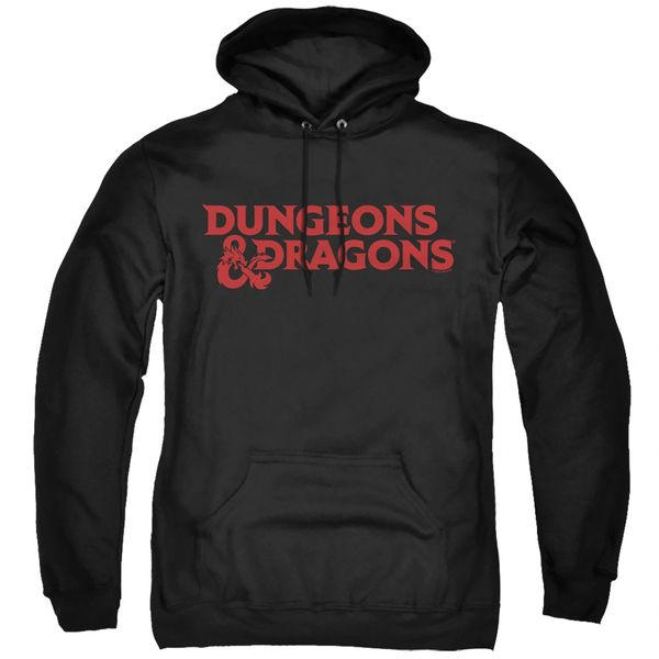 Dungeons and Dragons Type Logo Black Adult Pull Over Hoodie