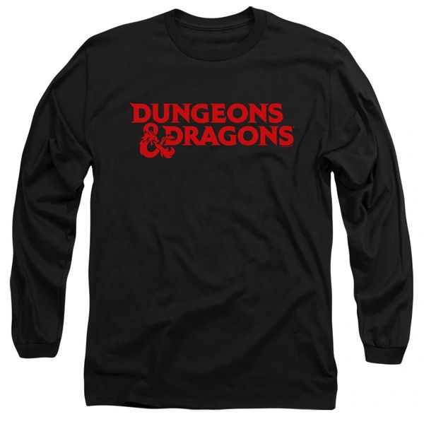 Dungeons and Dragons Type Logo Black Adult Long Sleeve T-shirt