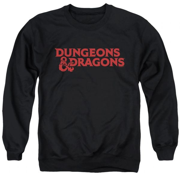 Dungeons and Dragons Type Logo Black Adult Crew Neck Sweatshirt