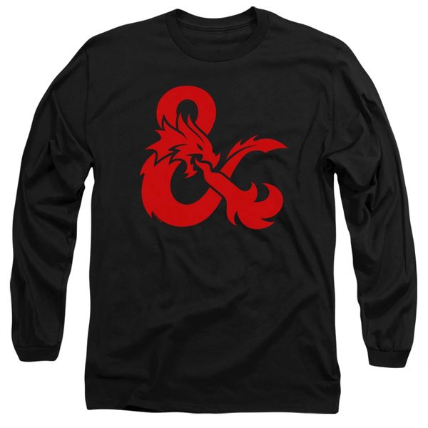 Dungeons and Dragons Andpersand Logo Black Adult Long Sleeve T-shirt