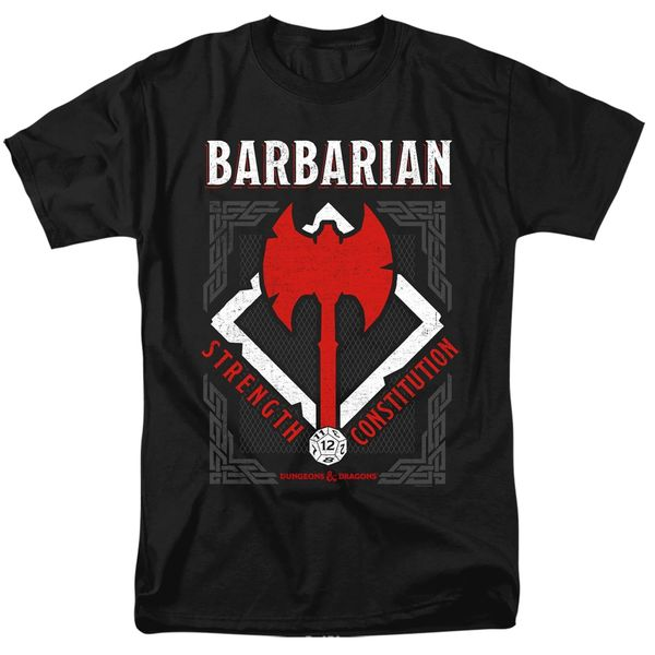 Dungeons and Dragons Barbarian Black Short Sleeve Adult T-shirt