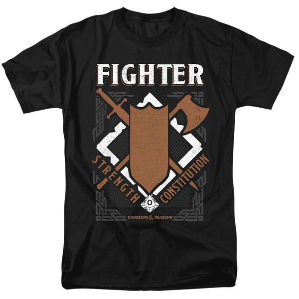 Dungeons and Dragons Fighter Black Short Sleeve Adult T-shirt