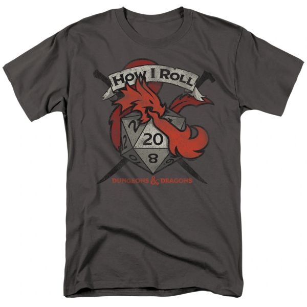 Dungeons and Dragons How I Roll D and D Charcoal Short Sleeve Adult T-shirt
