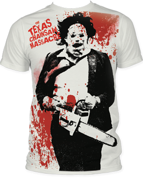 The Texas Chainsaw Massacre Splatter White Big Print Adult T-shirt