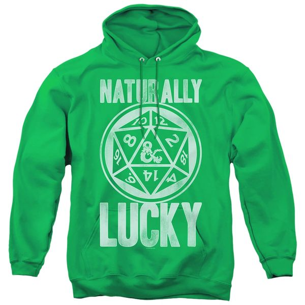 Dungeons and Dragons Naturally Lucky Kelly Green Adult Pull Over Hoodie