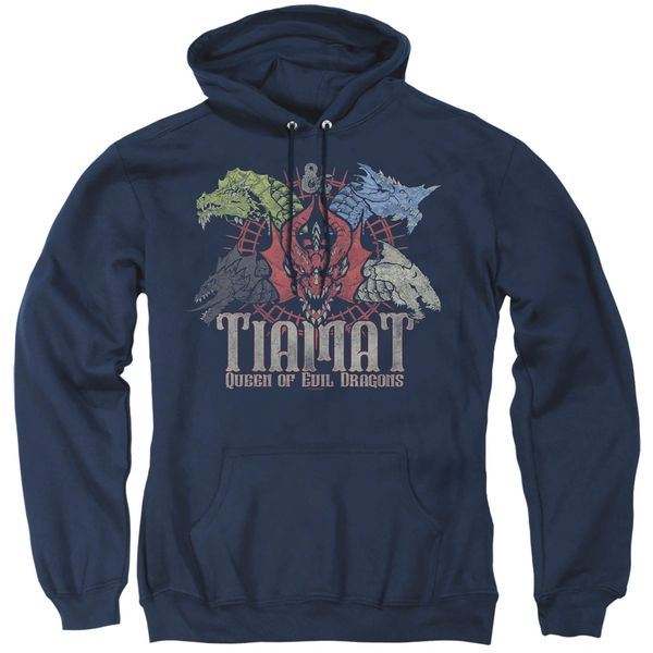 Dungeons and Dragons Tiamat Queen of Evil Navy Adult Pull Over Hoodie