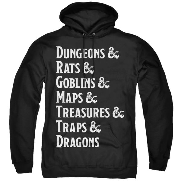 Dungeons and Dragons Dungeon List Black Adult Pull Over Hoodie