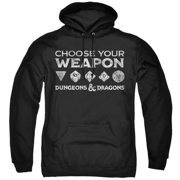 Dungeons and Dragons Choose Your Weapon Black Adult Pull Over Hoodie