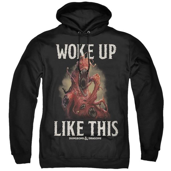 Dungeons and Dragons Woke Up Like This Black Adult Pull Over Hoodie