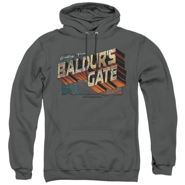 Dungeons and Dragons Baldur's Gate Charcoal Adult Pull Over Hoodie