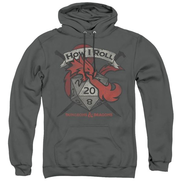 Dungeons and Dragons How I Roll Charcoal Adult Pull Over Hoodie