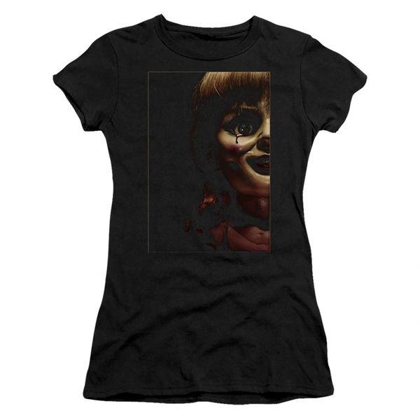 Annabelle Doll Tear Black Short Sleeve Junior T-shirt