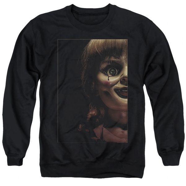 Annabelle Doll Tear Black Adult Crew Neck Sweater