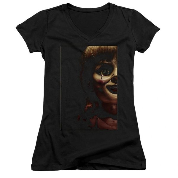 Annabelle Doll Tear Black Short Sleeve Junior V-Neck T-shirt