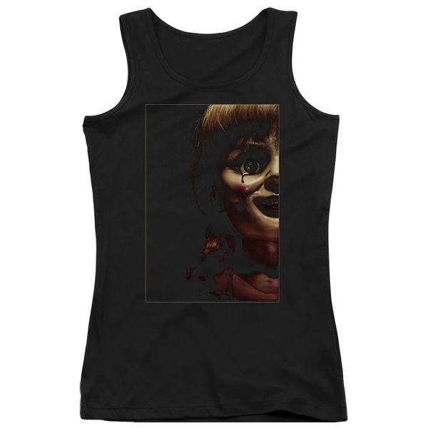 Annabelle Doll Tear Black Short Sleeve Junior Tank Top T-shirt