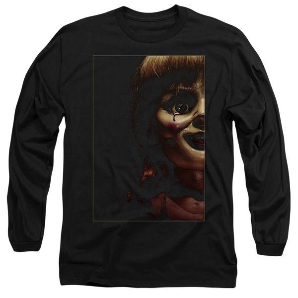 Annabelle Doll Tear Black Long Sleeve Adult T-shirt