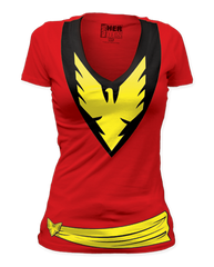 Phoenix Dark Phoenix Big Print Womens Deep V-neck T-shirt