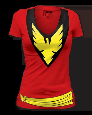 Phoenix Dark Phoenix Big Print Womens Deep V-neck T-shirt