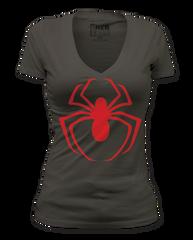 Spiderman Red Logo V-Neck Junior T-shirt