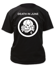 Death in June Totenkopf 6 Logo Black Cotton Short Sleeve Adult T-shirt