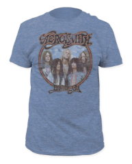 Aerosmith Dream On Athletic Blue Short Sleeve Adult T-shirt
