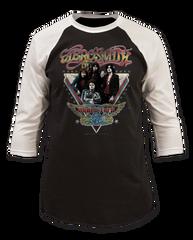 Aerosmith World Tour Black and White Adult Baseball Jersey T-shirt
