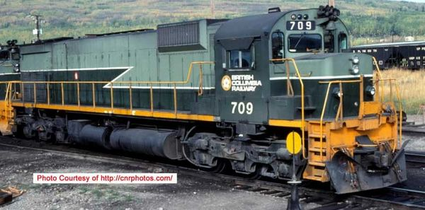 Bowser Ho Scale M630 British Columbia Railway Yellow Sill Stripe Two Tone Green Hood Mounted Ditchlights DCC Ready *Pre-order*