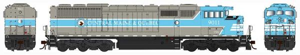 Bowser Ho Scale SD40-2F Central Maine & Quebec Round Port Hole W/Ditchlights DCC & Sound