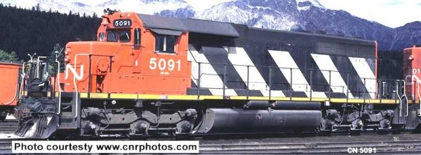 Bowser Ho Scale SD40 CN Stripes, W/ Snow Shields, 2 Class Lights, Ditchlights W/O Dynamic Brakes DCC & Sound *Pre-order*