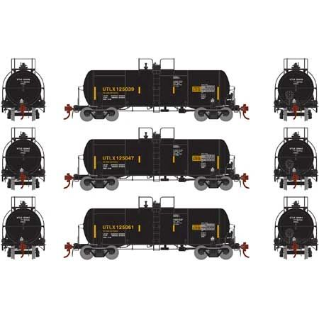 Athearn Genesis Ho Scale 13,600 Gallon Acid Tank UTLX (3) Pack