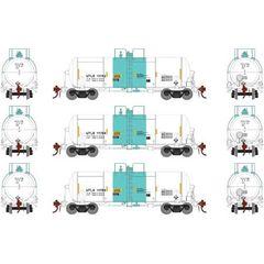 Athearn Genesis Ho Scale 13,600 Gallon Acid Tank UTLX White & Green (3) Pack