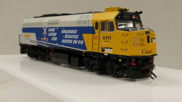 "Rapido Ho Scale Via Rail F40PH-2D #6411 ""Operation Lifesaver"" DCC & Sound"