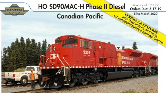 Athearn Genesis 2.0 Ho Scale SD90MAC-H Canadian Pacific DCC & Sound