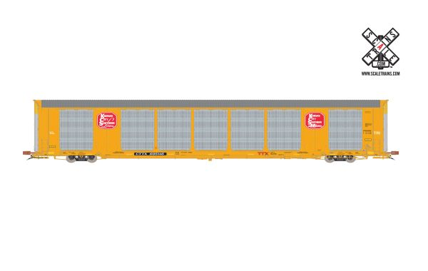 Scaletrains Rivet Counter Ho Scale Gunderson Multi-Max Autorack Kansas City Southern/Yellow/CTTX *Pre-order