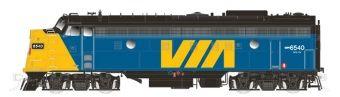 Rapido Ho Scale VIA Rail Canada (Early Angled Nose) #6540 FP9A DCC & Sound