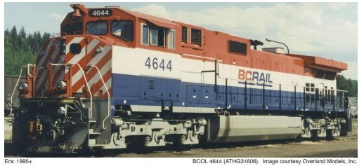 Athearn Genesis 2.0 Ho Scale C44-9WL BC Rail DCC Ready *Reservation*