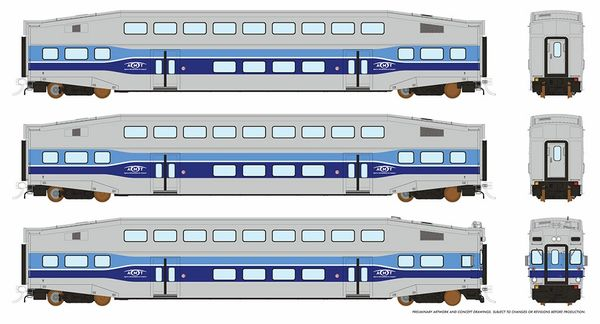Rapido HO Scale Bi-Level Commuter Car Set W/Cab Car AMT *Reservation*