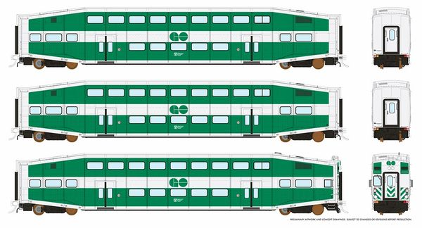 Rapido HO Scale Bi-Level Commuter Car Set W/Cab Car GO Transit *Reservation*