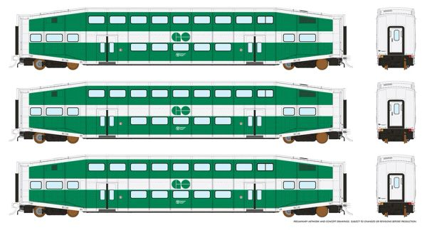 Rapido HO Scale Bi-Level Commuter Car Set (Coach 3 Pack) GO Transit *Reservation*