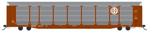 Intermountain Railway Ho Scale Bi-Level Auto Rack - BNSF Brown - Circle Cross Logo