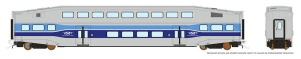 Rapido HO Scale Bi-Level Commuter Coach Single Car Un-numbered AMT *Reservation*