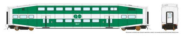 Rapido HO Scale Bi-Level Commuter Coach Single Car Un-numbered Go Transit *Reservation*
