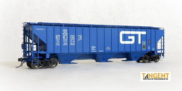 "Tangent Scale Models Ho Scale Grand Trunk Western (GTW) ""Original Blue 1972"" PS4750 Covered Hopper"