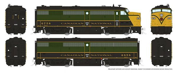Rapido HO Scale MLW Canadian National (1954 Scheme) FPA-2U / FPB-2U DCC Ready *Reservation*
