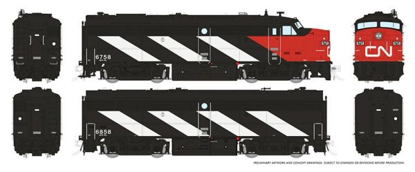 Rapido HO Scale MLW Canadian National (CN Noodle 1961 scheme) FPA-2U / FPB-2U DCC Ready *Reservation*