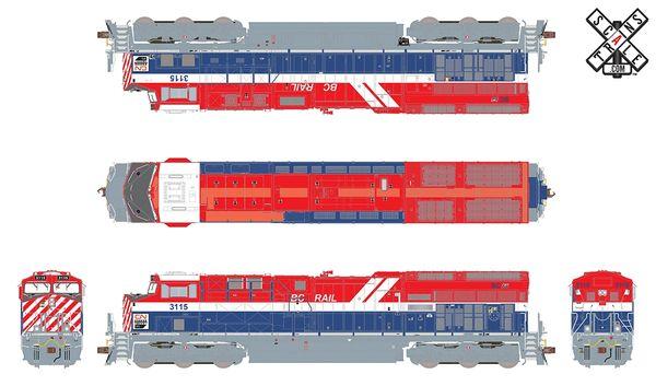 Scaletrains Rivet Counter Ho Scale ET44AC CN/ BC Rail Heritage #3115 DCC & Sound *Reservation*