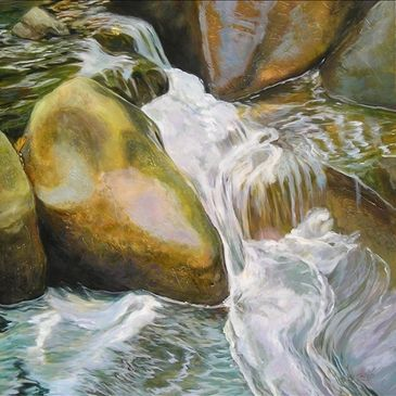 """unstoppable"" 48x48 Rocks and rushing water"